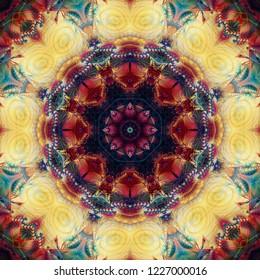 Kaleidoscope colorful flower. Bright illustration for design. Seamless pattern.