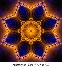 Kaleidoscope gold colorful flower. Bright illustration for design. Seamless pattern.