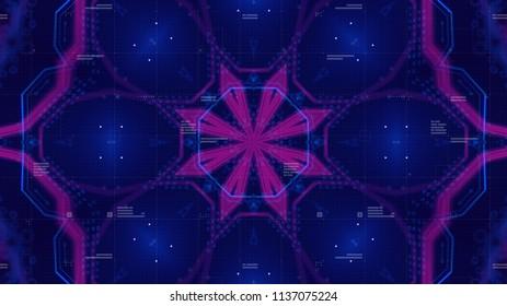 Kaleidoscope Pattern. Technology geometry Geometric Texture. Digital technology. Abstract. 3D illustration. Printed circuit board. Stylish holographic.