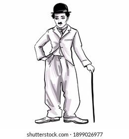 Kaliningrad, Russia 8 October 2020, Charlie Chaplin Caricature Illustration
