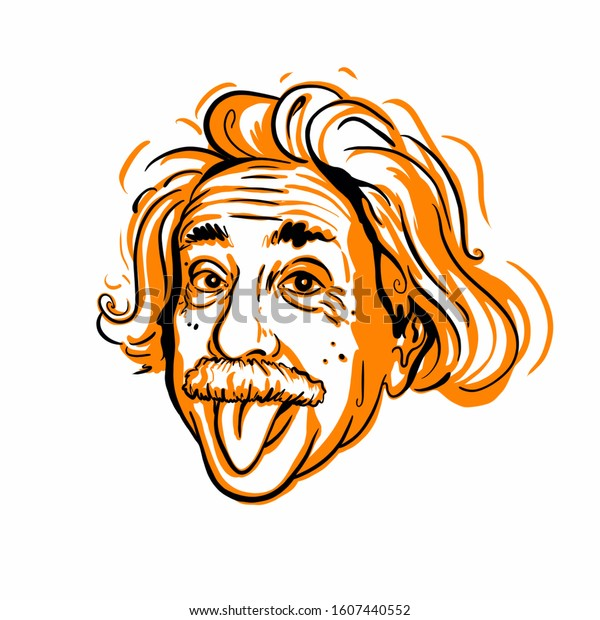 Kaliningrad, Russia January 04, 2020: Albert Einstein portrait sketch. The theoretical physicist who developed the theory of relativity, one of the two pillars of modern physics.