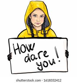 "Kaliningrad, Russia,January  15, 2020: Greta Thunberg  sketch portrait, illustration . The teenage environmental activist. Swedish inscription: ""Climate school strike"""