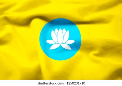 Kalmykia modern and realistic closeup 3D flag illustration. Perfect for background or texture purposes.