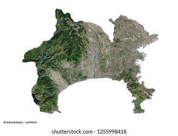 Kanagawa, Japan Map (3D illustration)