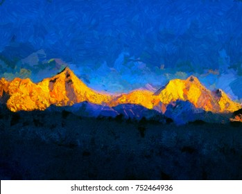 Kanchenjunga mountain range - oil painting