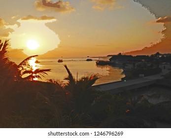 Kandooma Maldives Sunset Watercolor