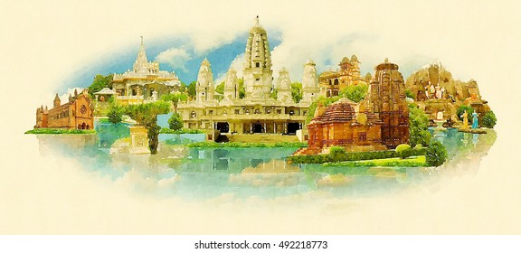 KANPUR city water color vector panoramic illustration