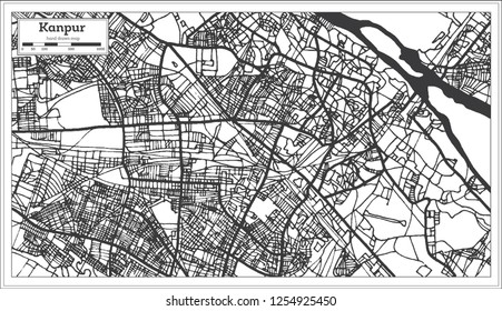 Kanpur India City Map in Retro Style. Outline Map.