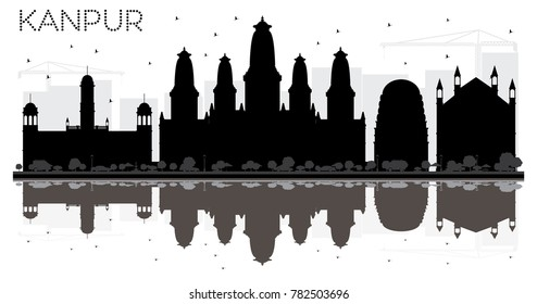 Kanpur India City skyline black and white silhouette with Reflections. Business travel concept. Kanpur Cityscape with landmarks.
