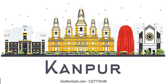 Kanpur India City Skyline with Color Buildings Isolated on White. Business Travel and Tourism Concept with Historic Architecture. Kanpur Cityscape with Landmarks.