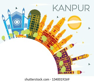 Kanpur India City Skyline with Color Buildings, Blue Sky and Copy Space. Business Travel and Tourism Concept with Historic Architecture. Kanpur Cityscape with Landmarks.