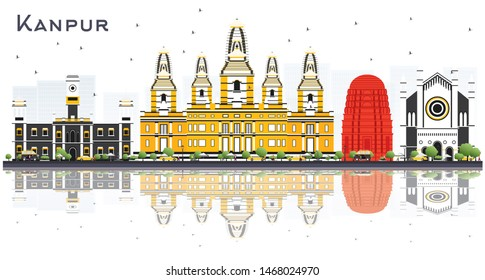 Kanpur India City Skyline with Color Buildings and Reflections Isolated on White. Business Travel and Tourism Concept with Historic Architecture. Kanpur Cityscape with Landmarks.