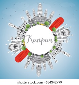 Kanpur Skyline with Gray Buildings, Blue Sky and Copy Space. Business Travel and Tourism Concept with Historic Architecture. Image for Presentation Banner Placard and Web Site.