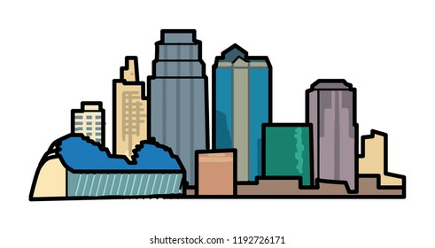Kansas City, simple graphic skyline icon
