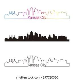 Kansas City skyline linear style with rainbow