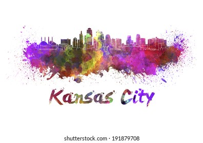 Kansas City skyline in watercolor splatters with clipping path