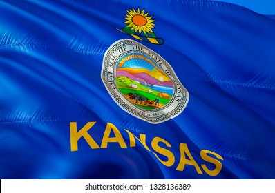 Kansas flag state. 3D Waving flag design. US state flags of Kansas and Topeka, 3D rendering. The national emblem of Kansas background wallpaper. 3D ribbon, wallpaper, background