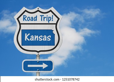 Kansas Road Trip Highway Sign, Kansas map and text Road Trip on a highway sign with sky background 3D Illustration