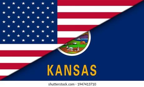 Kansas state Flag and United States of America Flag Flat Double flag - illustration