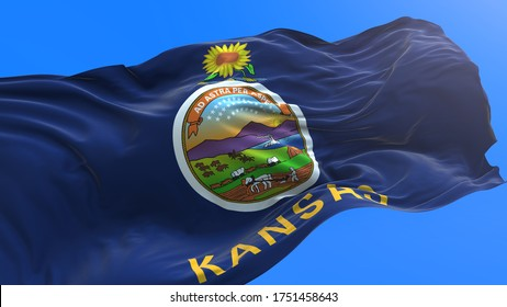 Kansas - United States of America State - USA - 3D realistic waving flag background