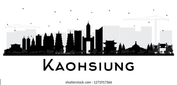 Kaohsiung Taiwan City Skyline Silhouette with Black Buildings Isolated on White. Business Travel and Tourism Concept with Historic Architecture. Kaohsiung China Cityscape with Landmarks.