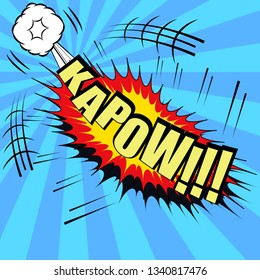 Kapow comic bubble text with exploding clouds and and funny spiral background
