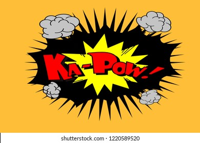 Kapow word Comic Book Effect on orange background.illustration