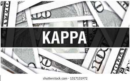 Kappa Closeup Concept. American Dollars Cash Money,3D rendering. Kappa at Dollar Banknote. Financial USA money banknote and commercial money investment profit concept