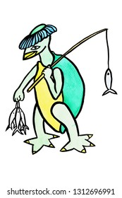 Kappa walking and holding a fishing rod and fish, Demon in myths and beliefs of Japanese culture, The green ghost resembles a turtle on white background , Illustration watercolor hand draw on paper