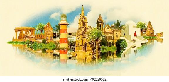 KARACHI city high resolution panoramic watercolor  illustration