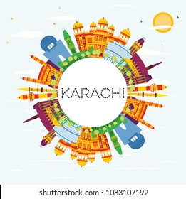 Karachi Skyline with Color Landmarks, Blue Sky and Copy Space. Business Travel and Tourism Concept with Historic Buildings. Karachi Cityscape with Landmarks.