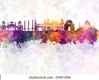 Karachi skyline in watercolor background