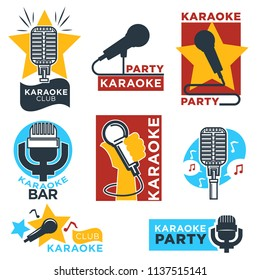 Karaoke club and bar  labels design