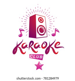 Karaoke club emblem created using musical notes and subwoofer discotheque amplifier, design elements for karaoke club flyers cover design.