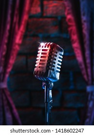 Karaoke night concept, high contrast image of a vintage microphone and a brick wall/ 3D Rendering, Illustration