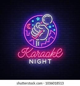 Karaoke night . Neon sign, luminous logo, symbol, light banner. Advertising bright night karaoke bar, party, disco bar, night club. Live music Design template.