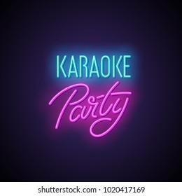 Karaoke party neon light sign.