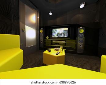 karaoke room .3d illustration