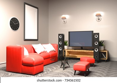 Karaoke room Modern red style with Tv and Loudspeaker. 3D rendering