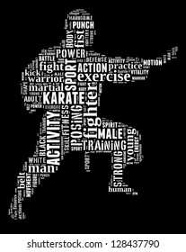 Karate info-text graphic and arrangement concept on black background (word cloud)