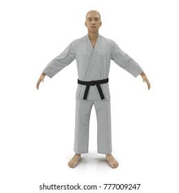Karate man in a kimono on white. 3D illustration