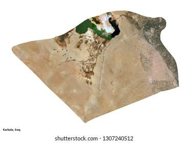 Karbala, Iraq Map (3D illustration)