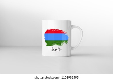 Karelia flag souvenir mug on white background. 3D rendering.