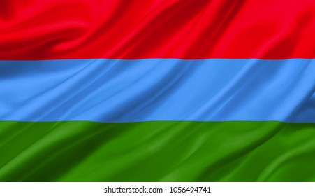 Karelia flag waving with the wind, 3D illustration.