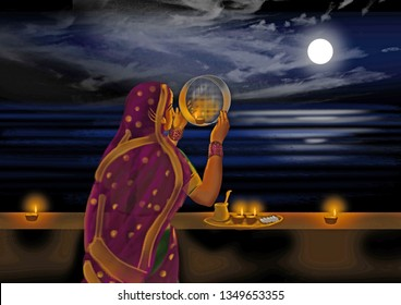 Karwa Chauth – Indian woman, looking through a sieve, celebrating Karwa Chauth, praying for the longevity and safety of her husband