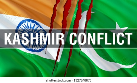 Kashmir Conflict on Pakistan and India flags. Waving flag design,3D rendering. Pakistan India flag picture, wallpaper image. Kashmir Indian Indo-Pakistani war and conflict. Delhi Islamabad Conflict