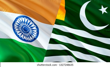 Kashmir and India flags. Waving flag design,3D rendering. Kashmir India flag picture, wallpaper image. Kashmirn Indian Indo-Pakistani war and conflict. Delhi Islamabad Conflict war concept