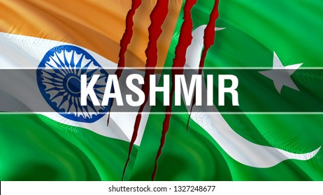 Kashmir on Pakistan and India flags. Waving flag design,3D rendering. Pakistan India flag picture, wallpaper image. Kashmir Indian Indo-Pakistani war and conflict. Delhi Islamabad Conflict concept