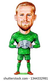 Kasper Peter Schmeichel is a Danish professional footballer who plays as a goalkeeper for Premier League club Leicester City and the Denmark national team. Illustration,Caricature,Design,20/03/2019