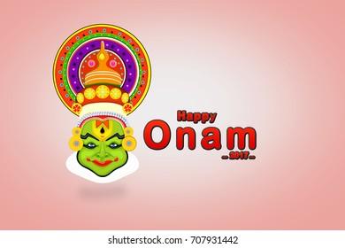 Kathakali face for festival of Onam celebration